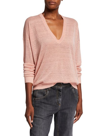 Shimmer Linen V-Neck Sweater