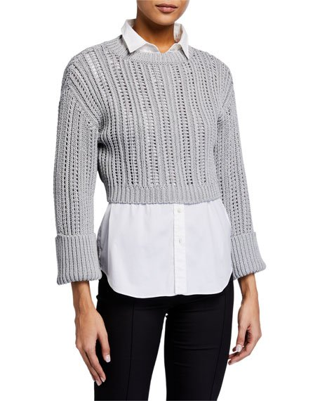 Shimmer English-Ribbed Crop Sweater