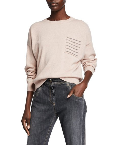 Cashmere Horizontal-Striped Sweater