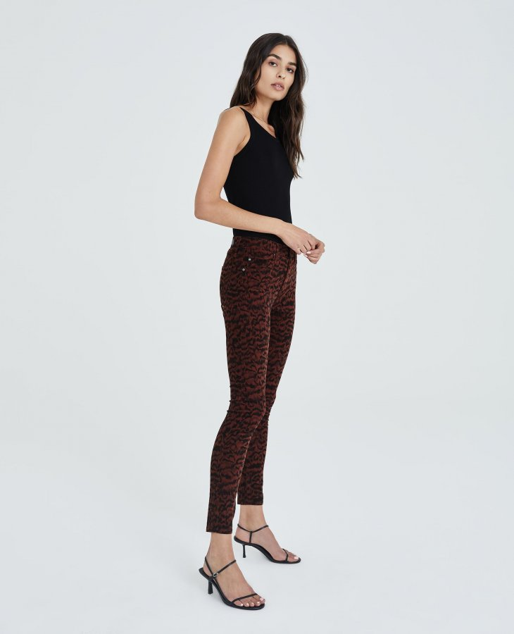 The Farrah Skinny Ankle in SHADOW A-RICH CRIMSON/BLACK at AG Jeans Official Store