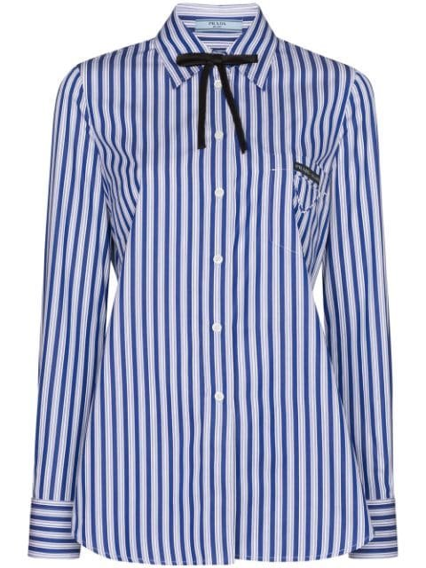 Prada Striped Poplin Shirt - Farfetch