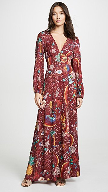 Burgundy Borogodo Maxi Dress