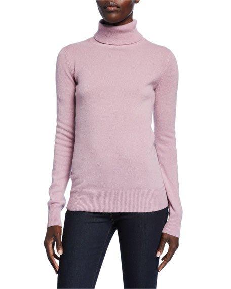 Basic Long-Sleeve Turtleneck Cashmere Sweater