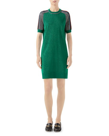 Short-Sleeve Shimmer Wool Track Dress