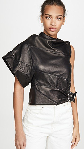 Leather Asymmetrical Gathered Ring Top