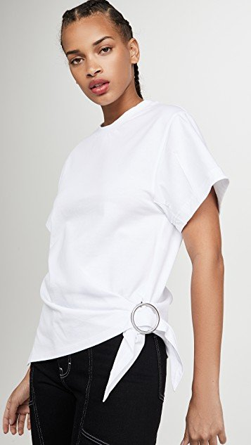 Short Sleeve T-Shirt with Gathered Ring