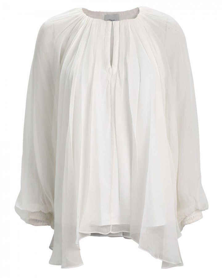 Pleated Silk Chiffon Blouse
