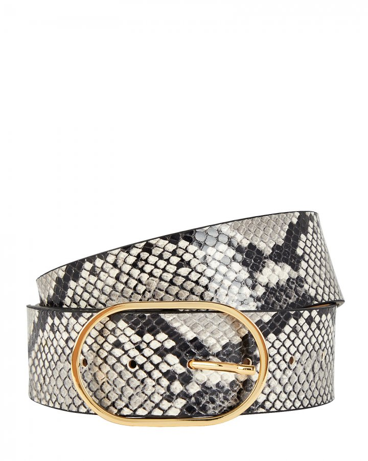 Emmie Python-Printed Leather Belt
