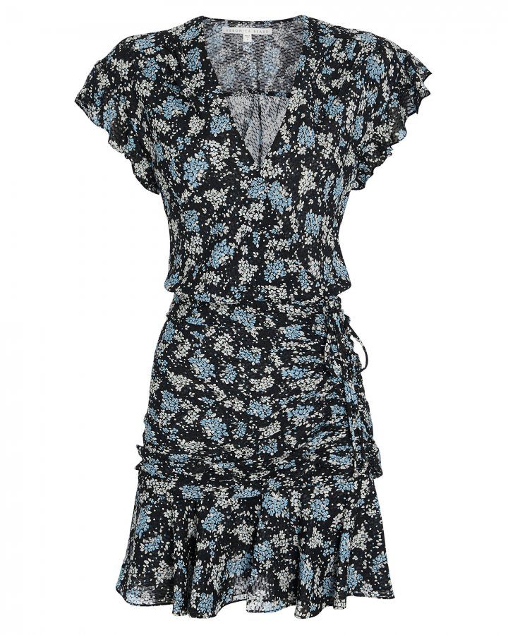 Marla Ruched Silk Floral Dress