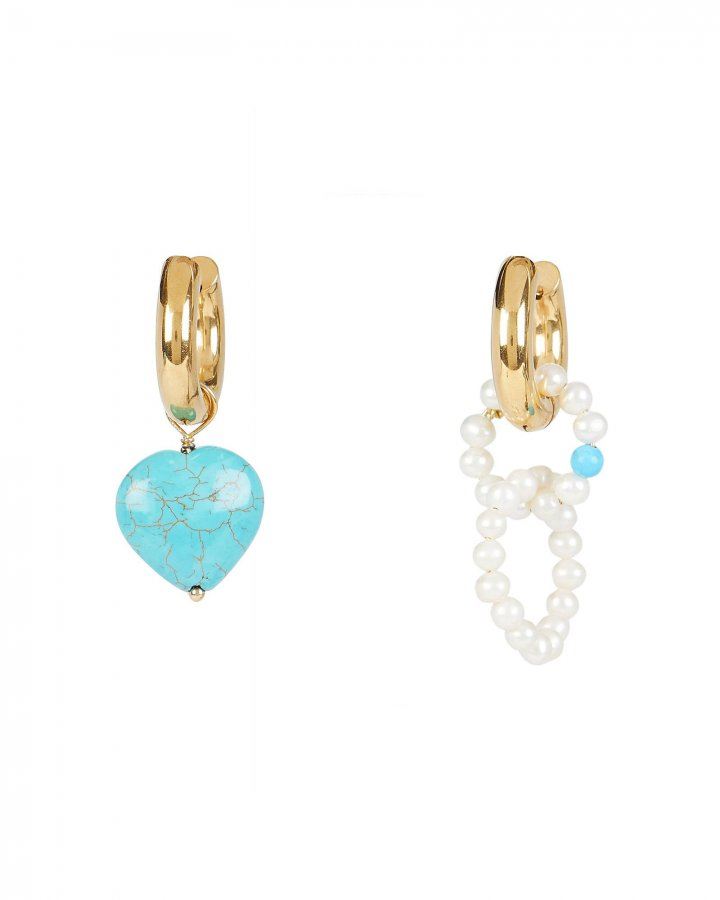 Mismatched Drop Heart Earrings