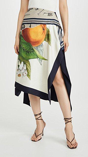 Grove And Toolbox Asymmetric Silk Scarf Skirt