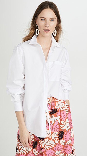 Long Sleeve Overprint Shirt with Gathered Sleeves