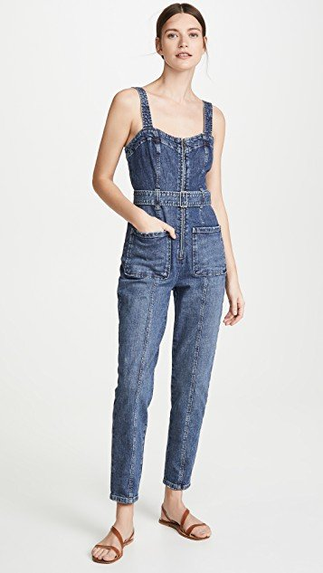 Sleeveless Dry Indigo Jumpsuit