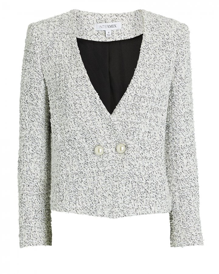 Carrie Double-Breasted Tweed Blazer