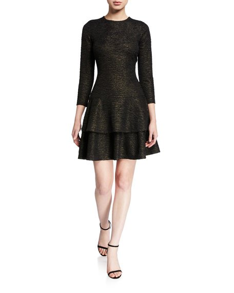 Shimmer 3/4-Sleeve Double Tiered Dress