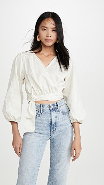 Sophie Solid Wrap Top