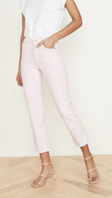 High Waist Cropped Straight Jeans