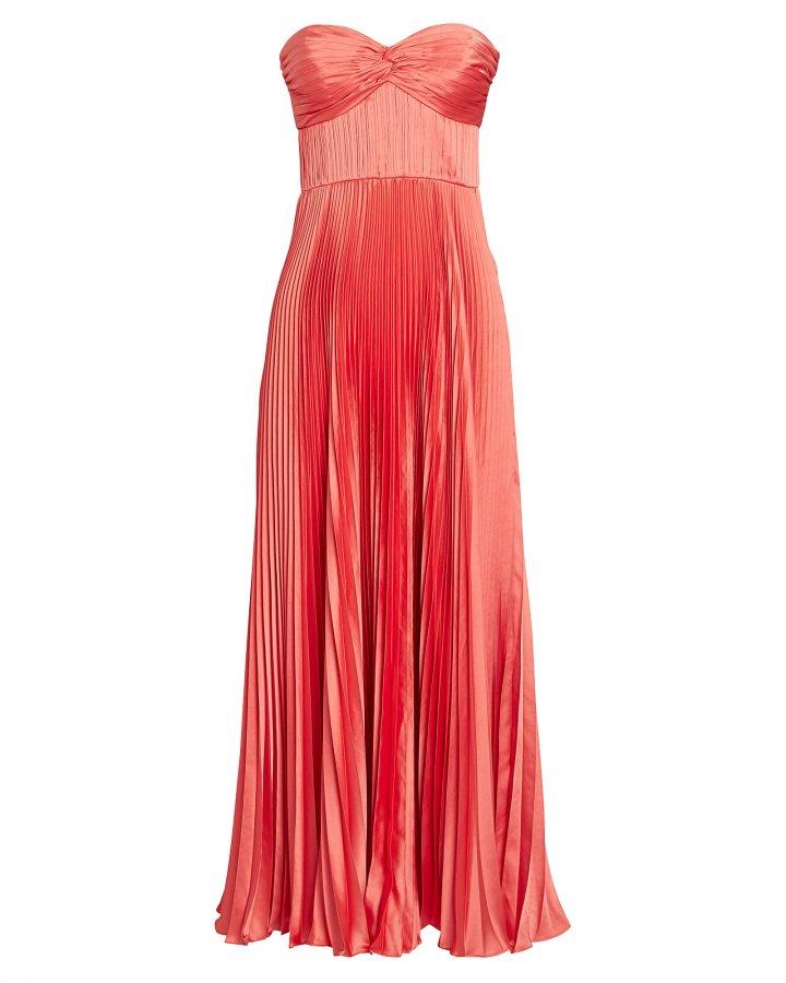 Belle Strapless Pleated Satin Dress