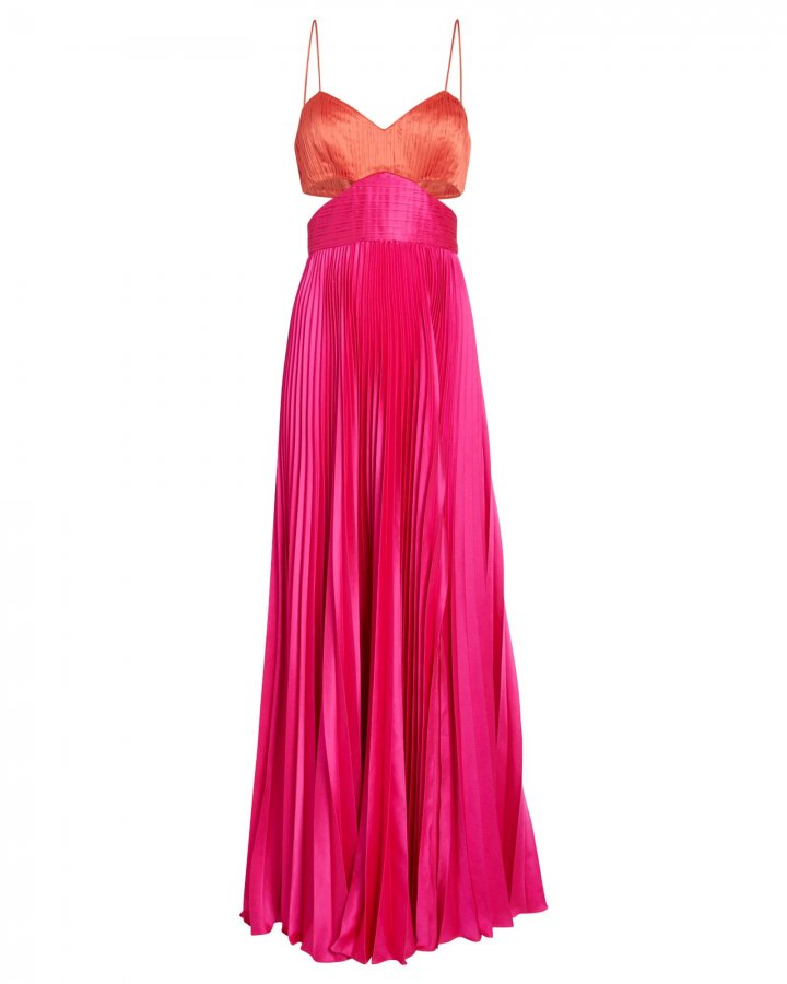 Elodie Colorblock Satin Gown