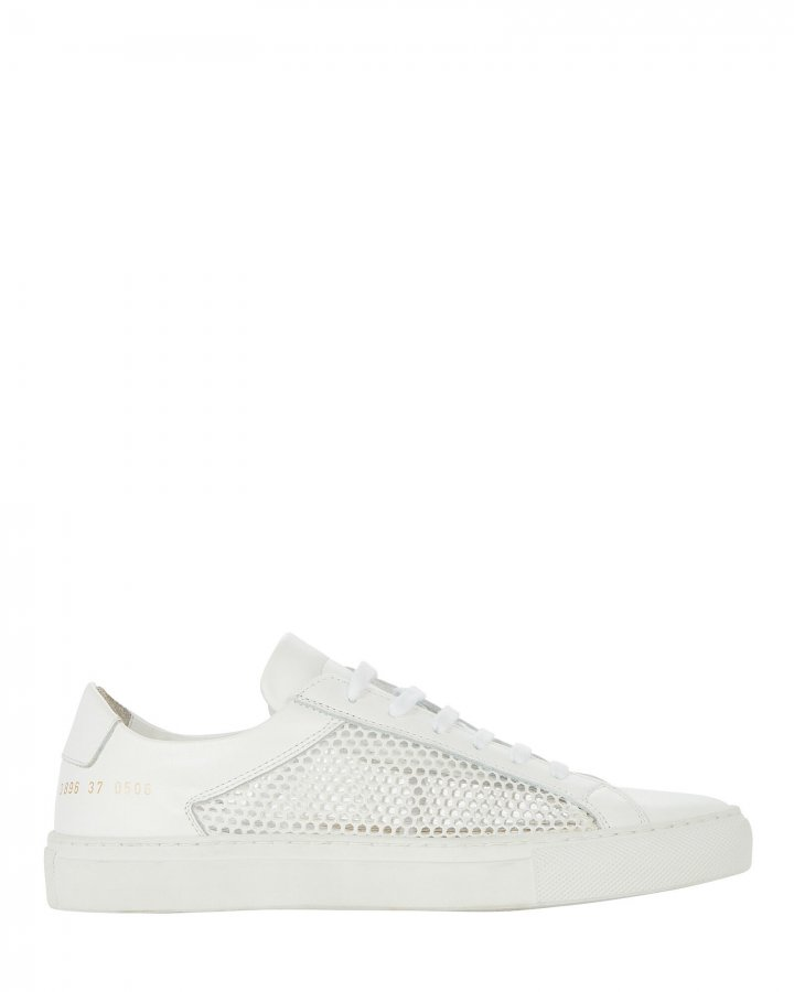 Achilles Mesh-Trimmed Leather Sneakers