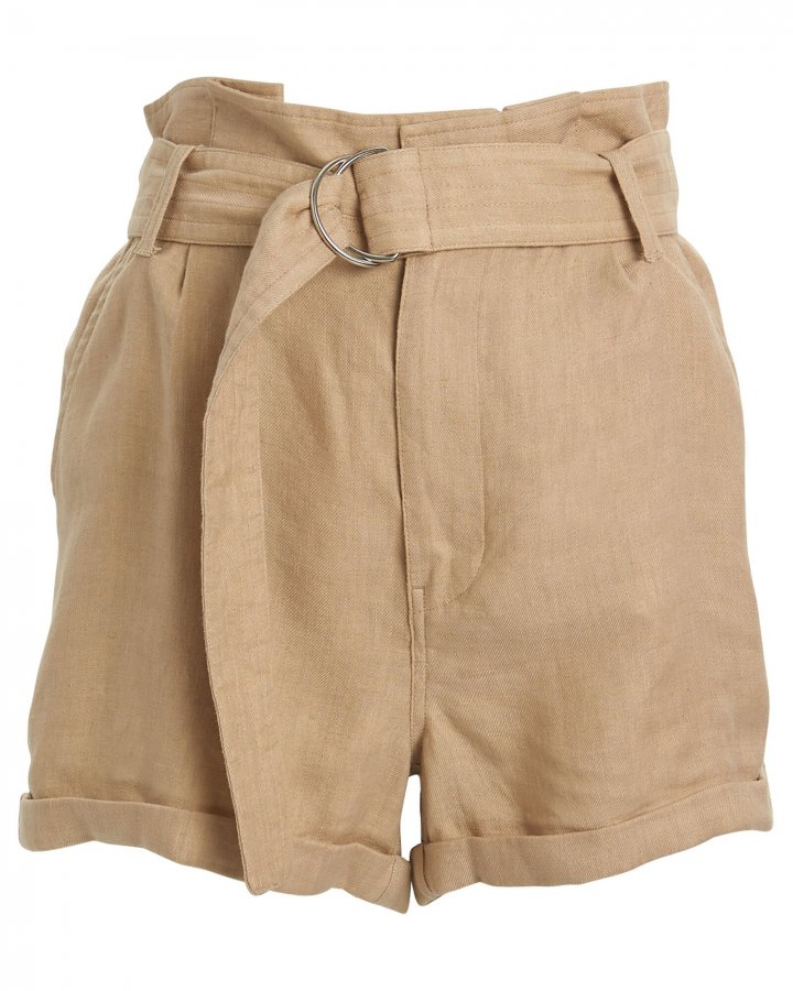 Paperbag High-Rise Canvas Shorts