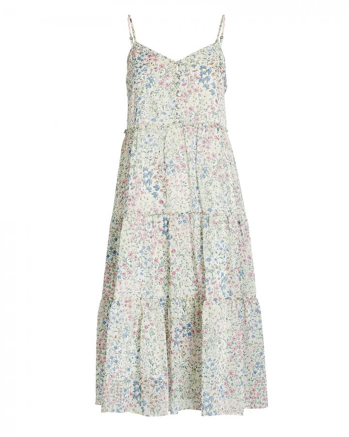 Tiered Floral Chiffon Dress