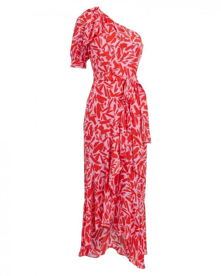 Vie One-Shoulder Floral Midi Dress