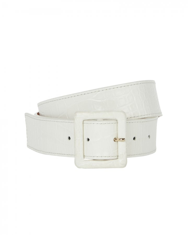 Croc-Embossed Skinny Waist Belt