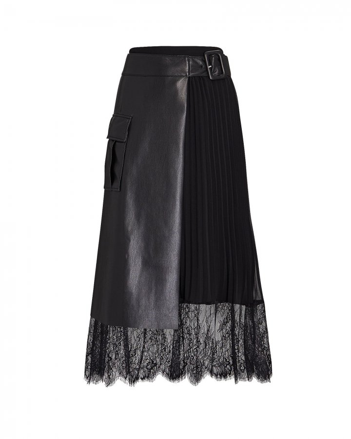Faux Leather Pleated Wrap Skirt