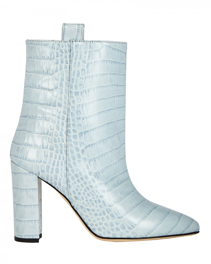 Croc-Embossed Leather Booties