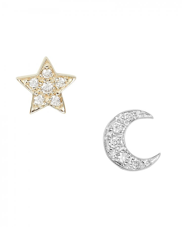 Two-Tone Crescent Moon and Star Studs