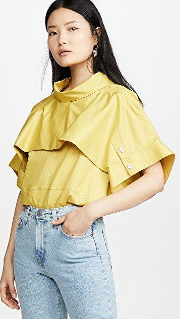 Dolman Sleeve Top with Fold Over Collar