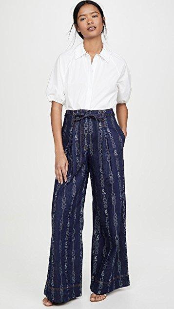 Gemini Jacquard Denim Trousers