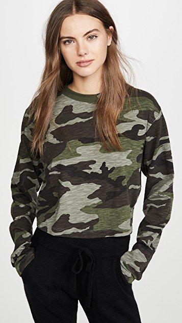 Camo Slouchy Crop Shirt