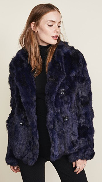 Textured Rabbit Pea Coat