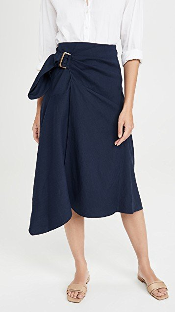Side Buckle Draped Skirt
