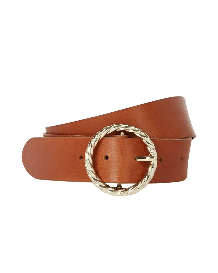 Twisted Circle Leather Belt