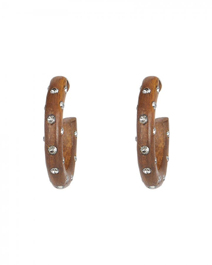 Crystal Embellished Wooden Hoops