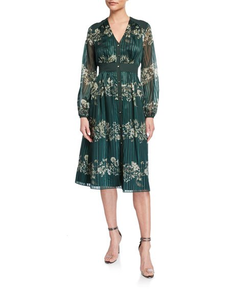 Delyla Meadowsweet Long-Sleeve Midi Dress