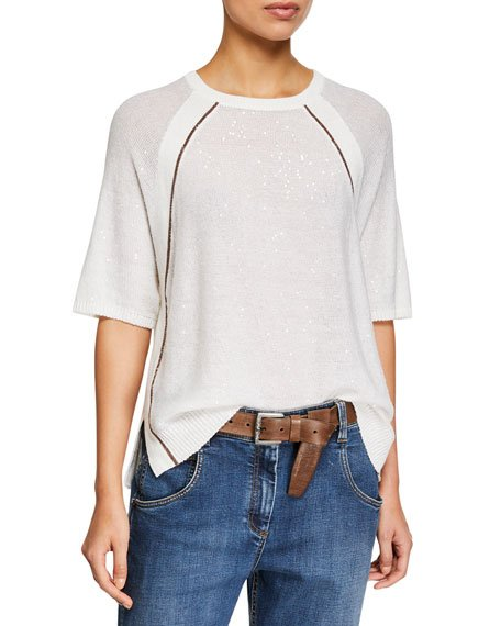 Monili-Beaded Shimmer Raglan-Sleeve Sweater