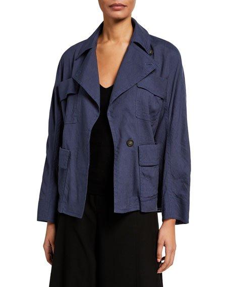 Belted Drapey Linen Jacket