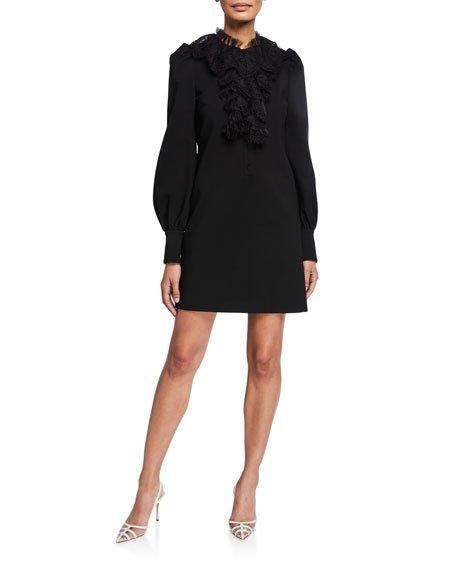 Puff-Sleeve Lace Trim Jersey Dress