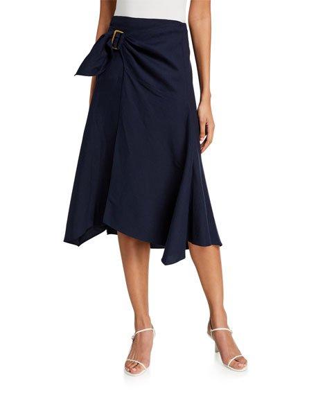 Side-Buckle Drape Skirt