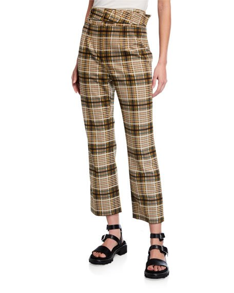 Plaid Tailoring Belted E-Cig Pants