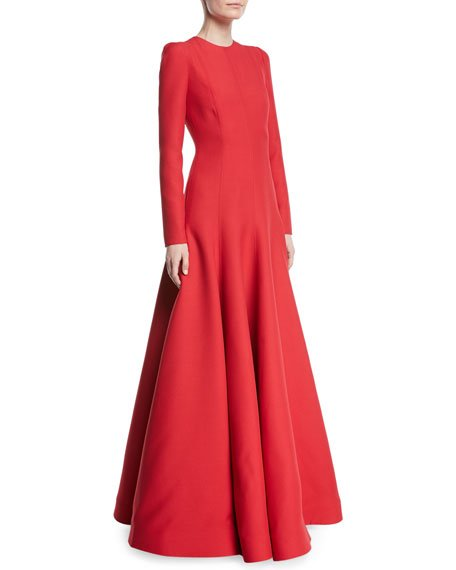Long-Sleeve Evening Gown