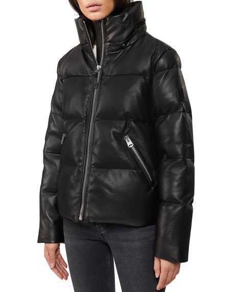 Hooded Leather Down Jacket