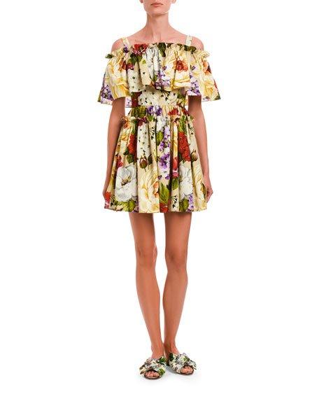 Floral Stretch Poplin Cold Shoulder Flounce Dress