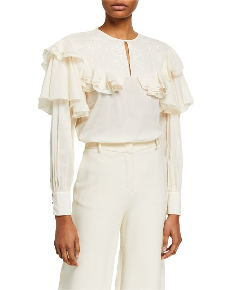 Ruffle-Tiered Embroidered Cotton Blouse