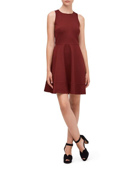 sleeveless ponte fit-&-flare dress