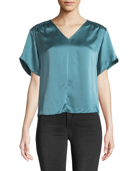 Short Sleeve Charmeuse Top